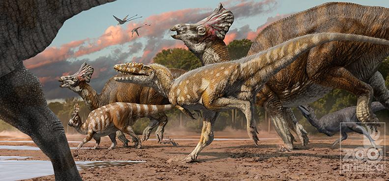 Alioramus chasing prey